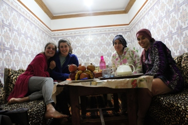 Hayat and Khadija, friends of a fellow PCV, made us couscous and let us cozy-up in their bathrobes for the night.